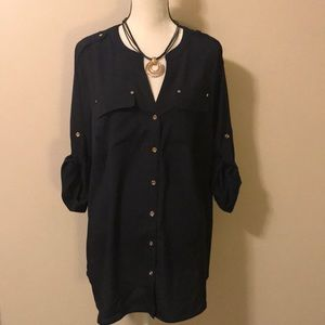 Charter Club Navy Button Down Blouse